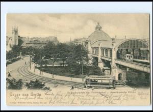XX10549/ Berlin Nollendorfplatz Hochbahnhof Straßenbahn 1905 AK