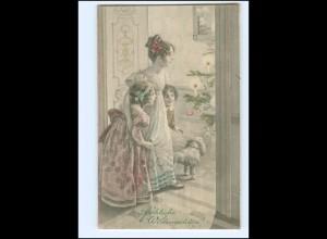 XX10633/ Weihnachten Mutter und Kinder, Hund Künstler AK M.M. Vienne ca.1910