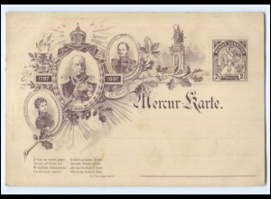 XX14702/ Mercur-Karte Hannover Ganzsache Kaiser Wilhelm I., 1897