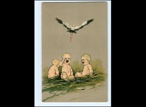 XX10640/ Storch und Babys tolle Litho Präge AK ca.1900