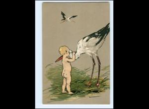 XX10641/ Storch und Babys tolle Litho Präge AK ca.1900