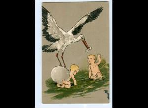 XX10642/ Storch und Babys tolle Litho Präge AK ca.1900