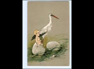 XX10643/ Storch und Babys tolle Litho Präge AK ca.1900