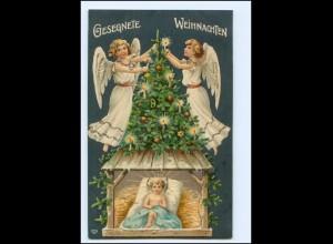 XX10646/ Weihnachten Engel Tannebaum tolle Litho Glimmer Prägedruck AK 1908