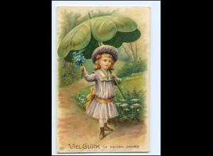 XX10648/ Neujahr schöne Litho Prägedruck Mädchen mit Kleeblatt 1909