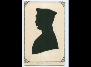 XX10665/ Echter Scherenschnitt N.C. Clausse Silhouettist AK ca.1905
