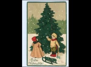 XX10651/ Weihnachten Kinder Tannenbaum Litho Präge AK 1911