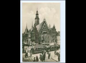 XX10763/ Breslau Rathaus Straßenbahn Foto AK Schlesien 1929