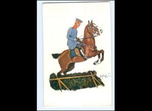 XX11087/ Schönpflug AK Militär Soldat zu Pferde Springreiten ca.1905