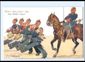 XX11096/ Schönpflug AK Militär Offizier zu Pferde , Soldaten marschieren 1909