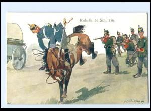 XX11098/ Schönpflug AK Militär Hinterlistige Schützen, Soldat zu Pferde 1909