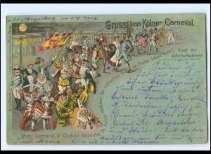 S2449/ Köln Gruß vom Kölner Karneval Litho AK 1900