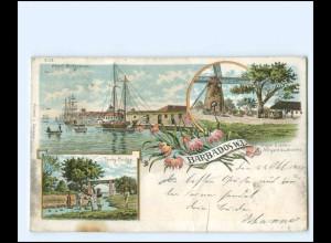 S2417/ Barbados Karibik Bridgetown , Windmühle Litho AK 1900