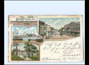 S2418/ Barbados Karibik Rosebuck Street Litho AK 1900
