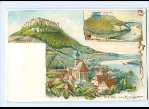 Y17730/ Gruß aus Königstein Litho AK ca.1900