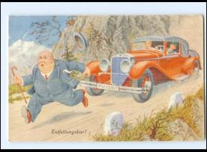 Y17567/ Humor AK dicker Mann und Auto 1938