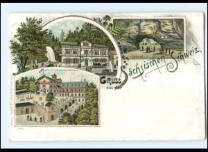 Y17591/ Gruß aus der Sächsischen Schweiz Litho AK ca.1900