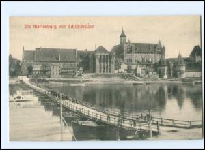 Y17604/ Die Marienburg Schiffsbrücke Westpreußen AK ca.1910