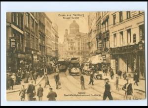 Y17618/ Hamburg Gr. Burstah Straßenbahn Verkehr AK ca.1910