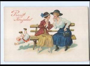 Y17628/ Neujahr Frauen und Kind AK ca.1920