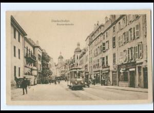 Y17724/ Diedenhofen Bismarckstraße Straßenbahn Ak Lothringen ca.1925