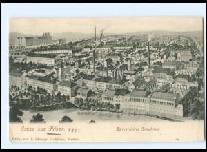 Y17486/ Pilsen Bürgerliches Brauhaus Brauerei AK Tschechien ca.1900