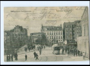 Y17494/ Bremerhaven Geestemünde Geestebrücke Straßenbahn AK 1907