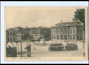 Y17510/ Geneve Place Neuve Straßenbahn AK 1908 Schweiz