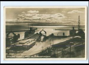 Y17515/ Sassnitz Rügen Fährschiffanlagen Foto AK 1936