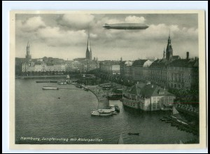 Y17481/ Hamburg Jungfernstieg Alsterpavillon Zeppelin AK ca.1938