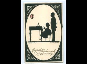 Y17444/ Geburtstag Schattenbild AK Meissner & Buch Künstlerkarte Nr. 3026 1933