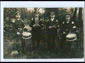 Y20035/ Männer mit Trommel u. Flöte in Uniform Foto AK ca.1912