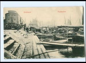 V748/ Stralsund Fischhafen Eisenbahn AK 1906