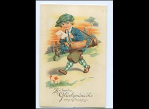 V855/ Golf Kind mit Golfschläger Geburtstag Litho AK 1933