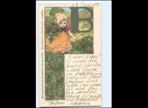 """V853/ Buchstaben """"B"""" ABC Postkarte der Zeitschrift Kunst und Kunst, AK 1905"""