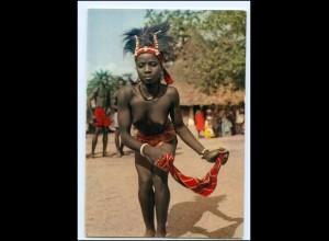 Y17689/ Junge Frau nackt Dancing Girl Afrika AK ca.1970