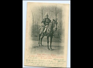 S2571/König Albert von Sachsen zu Pferde 70. Geburtstag 1898 AK
