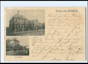 S2492/ Gruß aus Schiffbek Post, Apotheke AK 1899