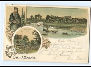 S2495/ Gruß aus dem Kirschenlande Lühe im Altenlande Litho AK 1897