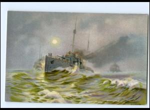 S2552/Marine Kriegsschiff Litho AK Blossfeld Stimmungsbilder aus unserer Flotte