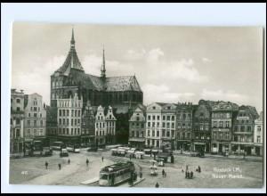 S2530/ Rostock Neuer Markt Straßenbahn Trinks Foto AK ca.1930