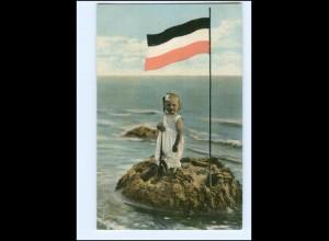 XX11141/ Mädchen am Strand Patriotik Schwaz-Weiß-Rote Fahne ca.1914