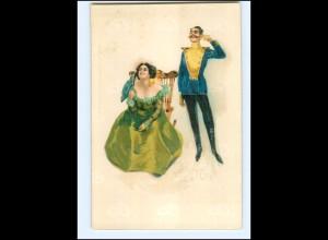 XX11979/ Ja oder Nein ! Offizier und Frau schöne Lito Künstler AK ca.1900
