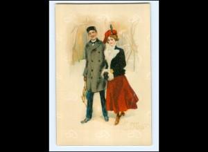 XX11977/ Ja oder Nein ! junges Paar schöne Lito Künstler AK ca.1900