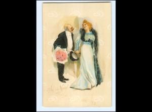 """XX11975/ """"Ja"""" oder """"Nein!"""" Alter Mann und Frau Litho Künstler AK ca.1900"""