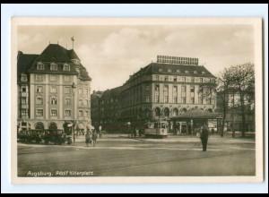XX11172/ Augsburg Adolf-H-Platz Straßenbahn Foto AK ca.1935