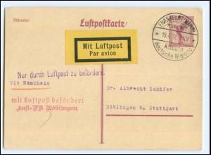 XX11182/ Luftpostkarte Ganzsache Stempel: Flugplatz Frankfurt / M. 1927