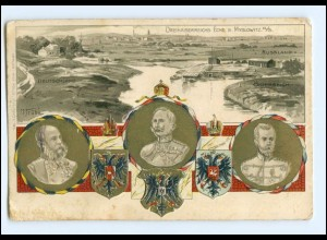 V874/ Myslowitz Schlesien Litho Präge AK Zar von Rußland Kaiser Franz Josef 1903