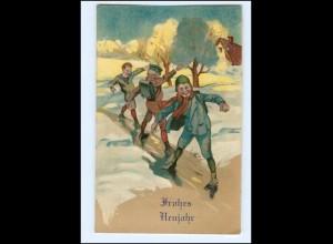 XX11346/ Neujahr Schulkinder rutschen Litho AK 1910