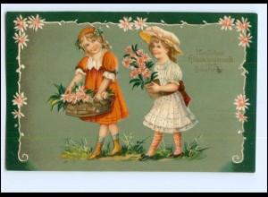 XX11351/ Geburtstag Mädchen mit Blumen Litho Präge AK 1910